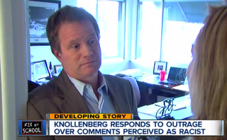 Michigan state Sen. Marty Knollenberg speaks with a reporterWXYZ screenshot