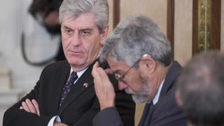 Mississippi Gov. Phil Bryant (left) looks on during a meeting of the National Governors Association at the White House in Washington, D.C., Feb. 23, 2015.JIM WATSON/AFP/Getty Images