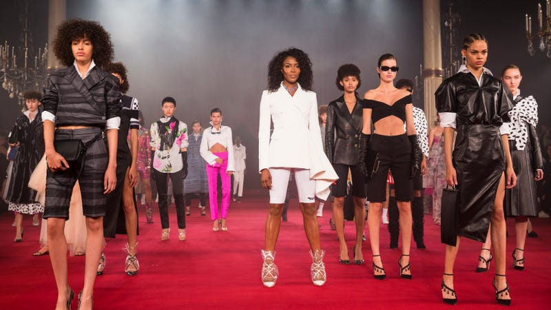 Naomi Campbell (center) and models walk the runway during the Off/White show as part of Paris Fashion Week Womenswear Spring/Summer 2018 on September 28, 2017 in Paris, France.
