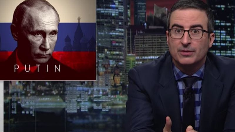 Illustration for article titled John Oliver resorts to using techno music to warn Trump about Putin