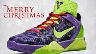 Illustration for article titled Kobe Bryant Is A Predator, According To Nike, And His New Christmas Shoe Looks Like Grinch Vomit