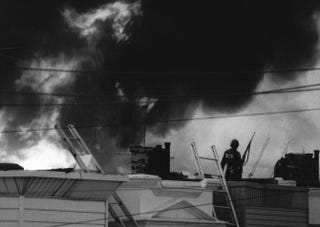 On May 13, 1985, a fire started after Philadelphia police dropped an explosive on a building where members of the MOVE organization where hiding.letthefireburn.com