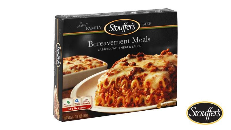 Illustration for article titled Stouffer's Debuts New Frozen Meals To Bring Neighbors After Death In Family