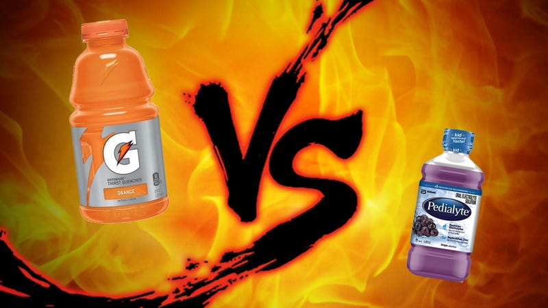 Illustration for article titled Hangover Cure Showdown: Gatorade vs Pedialyte