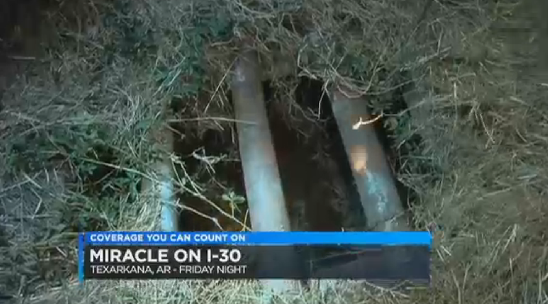The grate in which the baby was found, waiting to be rescued. Image via KSLA/screengrab)