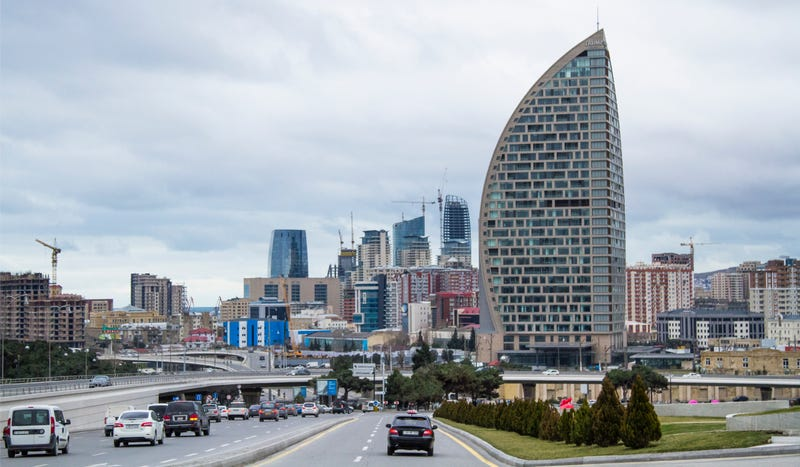 The Baku city skyline, complete with the new Trump International Hotel in the foreground. Photo credit: AP Images