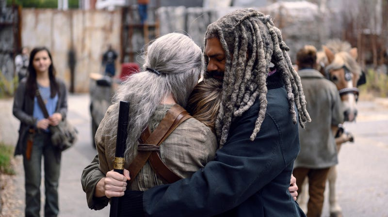 Carol (Melissa McBride), Henry (Matt Lintz), and Ezekiel (Khary Payton) have a happy family reunion.