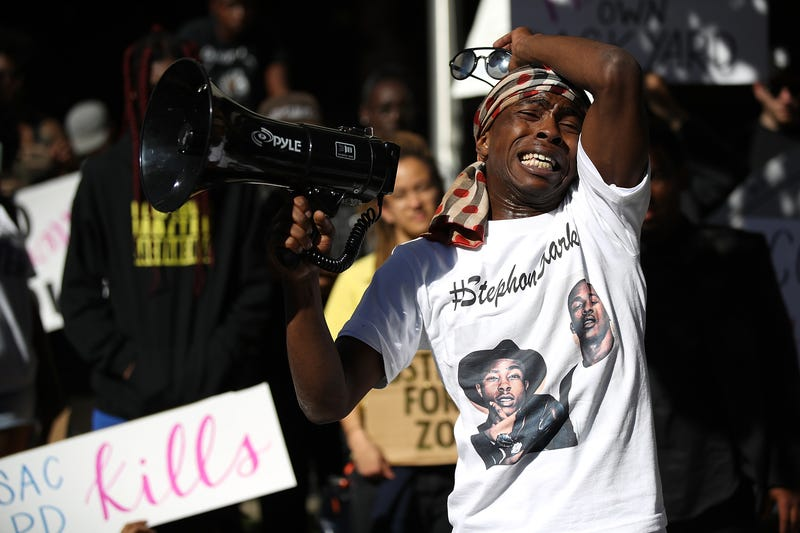 Stevante Clark, brother of Stephon Clark, speaks during a Black Lives Matter protest outside the office of Sacramento, Calif., District Attorney Anne Schubert on March 28, 2018.