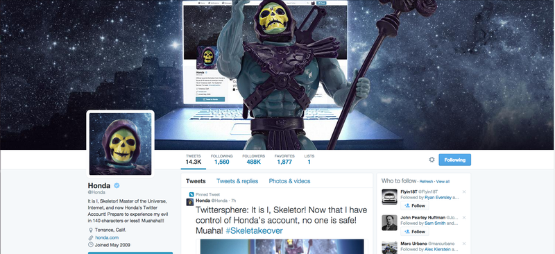 Illustration for article titled Honda's 'Hacked' Skeletor Twitter Account Is An Ad, You Fools
