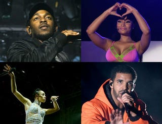 Top row: Kendrick Lamar (Angelo Merendino/Getty Images); Nicki Minaj (Isaac Brekken/Getty Images for iHeartMedia). Bottom row: FKA twigs (Matt Cowan/Getty Images for Coachella); Drake (Kevin Winter/Getty Images for Coachella).