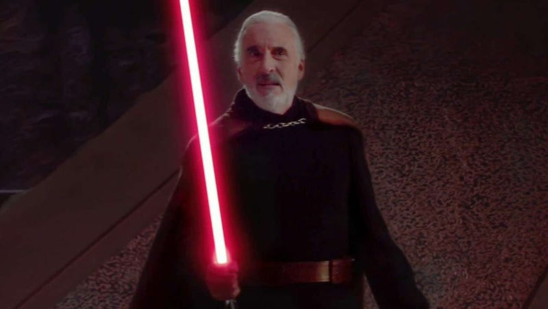 Sir Christopher Lee as a character who should really have been called something other than Count Dooku.