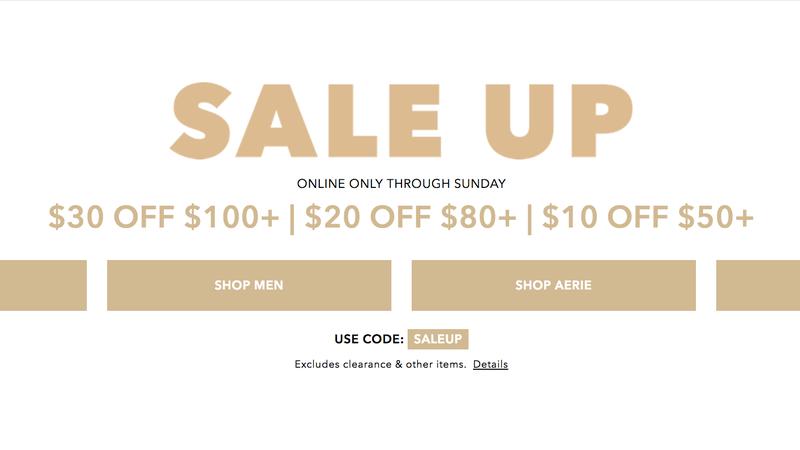 $30 Off $100+, $20 Off $80+, $10 Off $50+ | American Eagle | Promo code SALEUP
