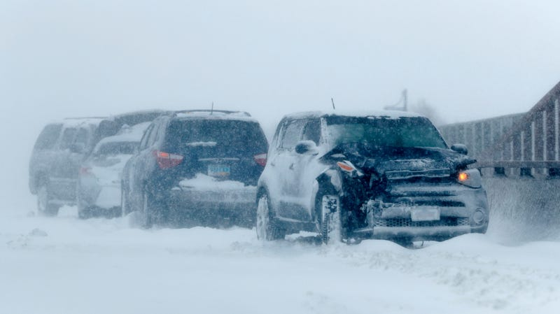 Wrecked vehicles on Interstate 70 near Aurora, Colorado on March 13.