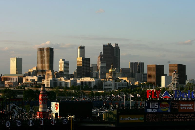 The Atlanta skyline sits beyond Turner Field.  (Streeter Lecka/Getty Images)