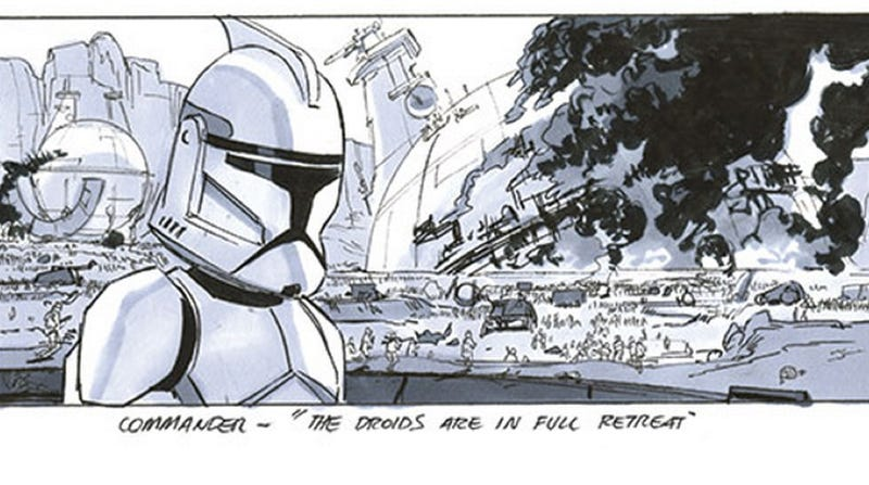 Illustration for article titled Storyboards reveal the amazing Star Wars prequel you never saw