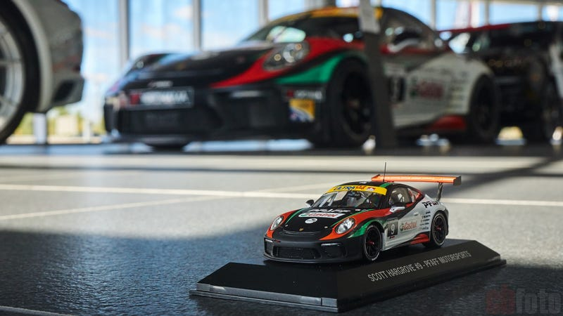 Pfaff Motorsport's old 991.2 Cup car and it's diecast counterpart
