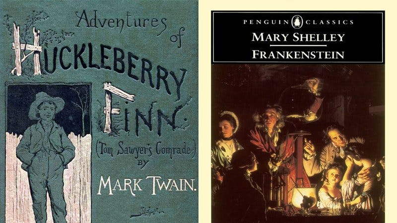 The covers of Huck Finn and Frankenstein.