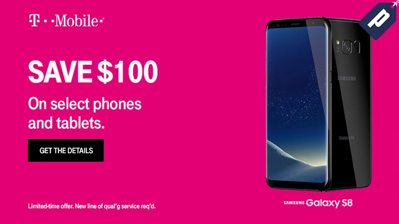 Illustration for article titled Save $100 On Select Smartphones & Tablets With A New Line Of Service From T-Mobile