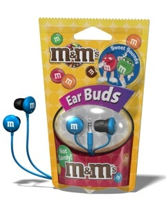 Illustration for article titled Maxell M&M's Earbuds Will Probably End Up In Your Kid's Stomach