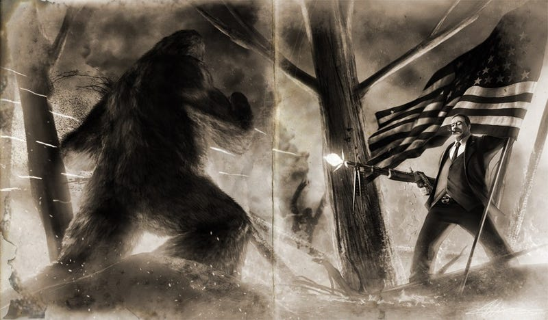 Illustration for article titled Teddy Roosevelt murdering Sasquatch and FDR's mecha: the most insane presidential portraits you've ever seen