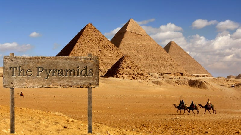 The pyramids in Egypt with their original sign.