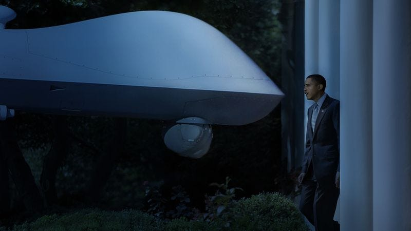 Illustration for article titled 'You're My Best Friend,' Says Obama To Drone That Appears Outside Bedroom Window Every Night