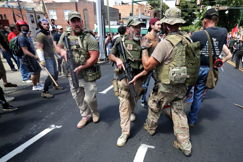 "Armed white supremacists at the August 12 ""Unite the Right"" rally in Charlottesville"