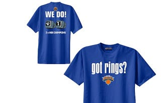 "Illustration for article titled ""Got Rings?"" T-Shirt Reminds Knicks Fans That Their Team Has Been Bad For Almost 40 Years"