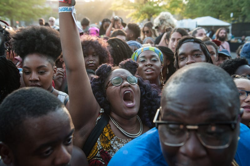 People participate in the annual Afropunk Music festival on August 27, 2016 in New York City.