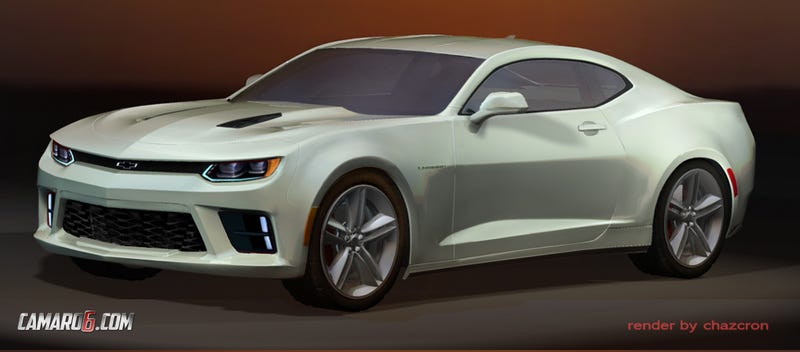 Illustration for article titled Here Is An Even Better Render Of The 2016 Chevrolet Camaro In White