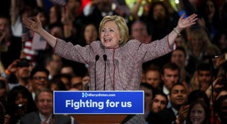 Democratic presidential candidate Hillary Clinton celebrates victory in the New York state primary April 19, 2016, in New York City.TIMOTHY A. CLARY/AFP/Getty Images
