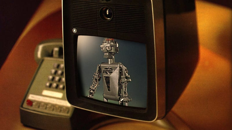 Paleofuture's Robot From the Future, taking your questions via videophone (from the future, naturally)