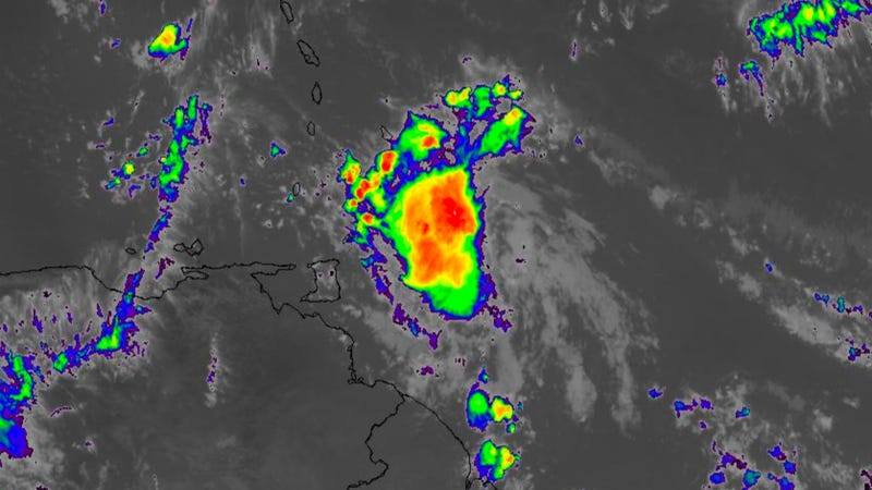 Tropical Storm Don, a weakening system that's now approaching the Windward Islands (Image via Weather Underground)