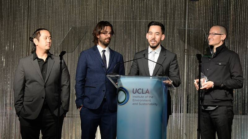"Linkin Park tries out its new ""guys in suits"" image (Image by: Getty Images)"