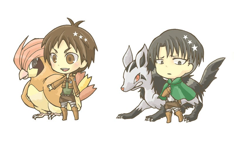 Illustration for article titled If Attack on Titan Characters Were Pokemon Trainers...