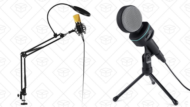 Aukey Condenser Microphone with Pop Filter, $30 with code AUKEYMIC | Aukey Condenser Microphone with Stand, $15 with code AUKEYMIC
