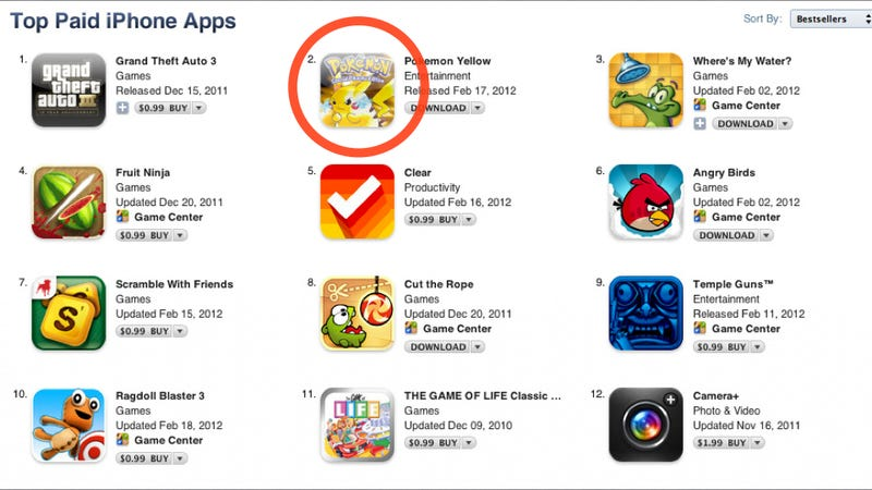 Illustration for article titled Bogus Pokémon Yellow Game Is Now Number Two on the Apple App Store