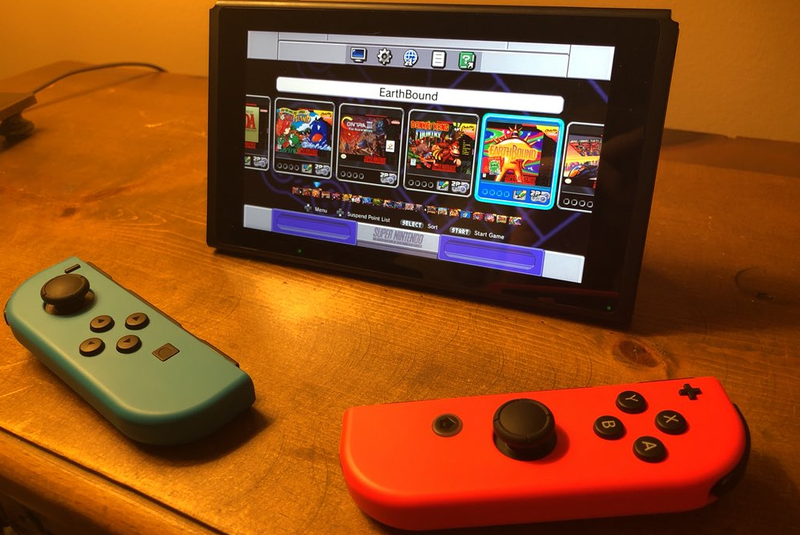 A Nintendo Switch running a version of the SNES Classic home menu.