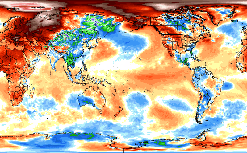 Global temperature anomalies for February 2016, another record-smashing month, via Ryan Maue / Weatherbell Analytics / Slate