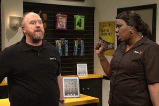Louis C.K. and Leslie Jones in Saturday Night Live sketchNBC Saturday Night Live screenshot