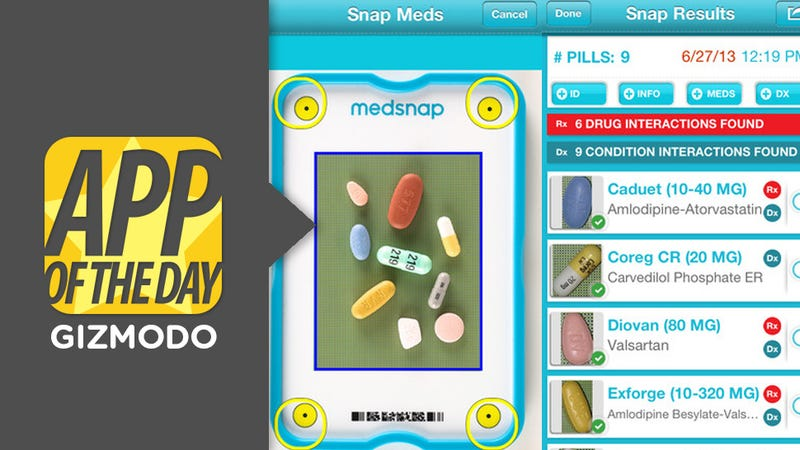 Illustration for article titled MedSnap ID for iOS: Identify Pills & Potential Interactions In 1 Photo