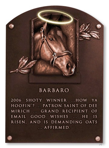 Illustration for article titled Deadspin Hall Of Fame Inductee: Barbaro