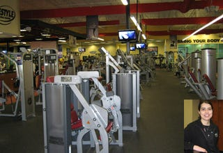 A piece of my gym, Lifestyle Family Fitness. Inset: Trainer Leslie Moraitis.