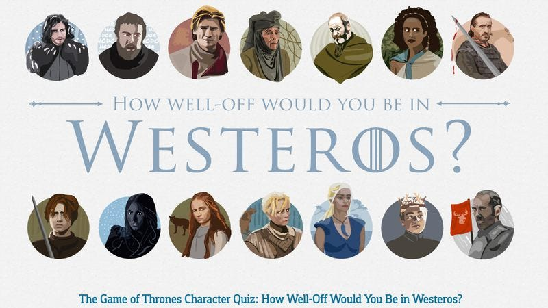 Illustration for article titled Now you can calculate how rich you'd be in Game Of Thrones