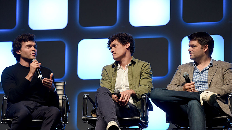 Image: Alden Ehrenreich, Chis Miller, and Phil Lord at Star Wars Celebration 2016. Ben A. Pruchnie/Getty Images