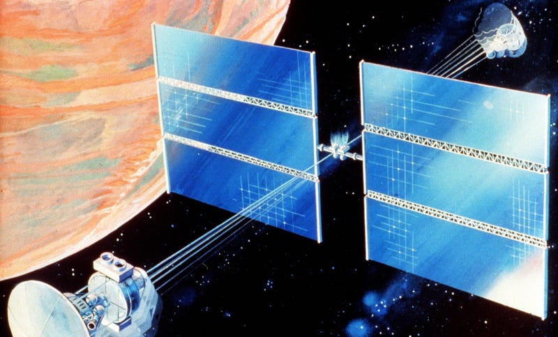 A NASA concept from the 1980s that could provide artificial gravity to a Mars exploration crew. Image: Wikimedia