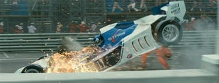 Illustration for article titled Iron Man 2 Trailer: Tony Stark's F1 Car Is Toast!