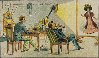 Illustration for article titled The Videophone as Imagined In 1910 Still Had Dancing Webcam Girls