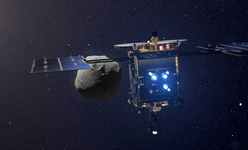 La sonda Hayabusa 2, aproximándose al asteroide Ryugu.