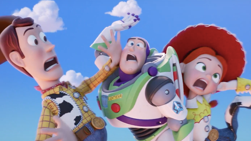 Woody, Buzz Lightyear, and Jessie having a moment.